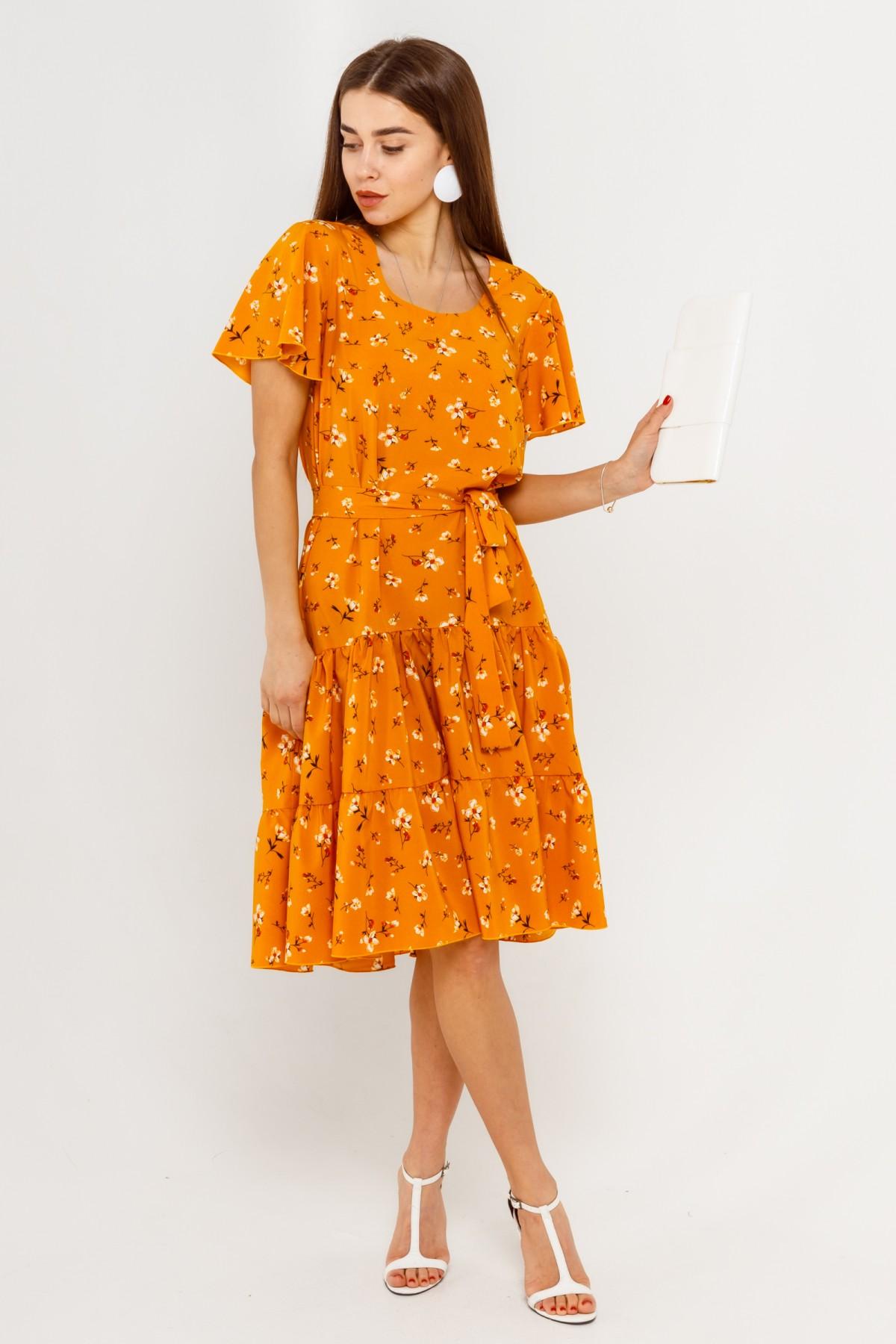 Яркое женское летнее платье оверсайз под пояс больших размеров