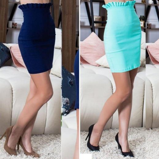 Стильная женская джинсовая короткая юбка с высокой посадкой