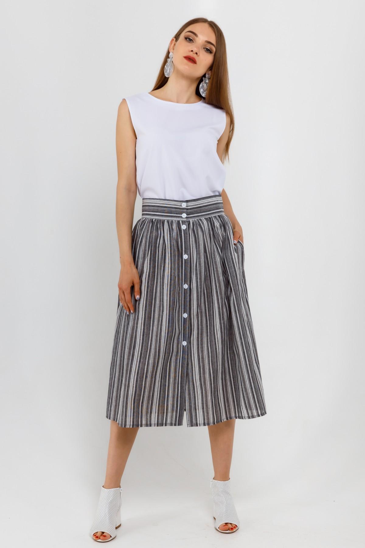 Льняная юбка-миди с широким притачным поясом больших размеров