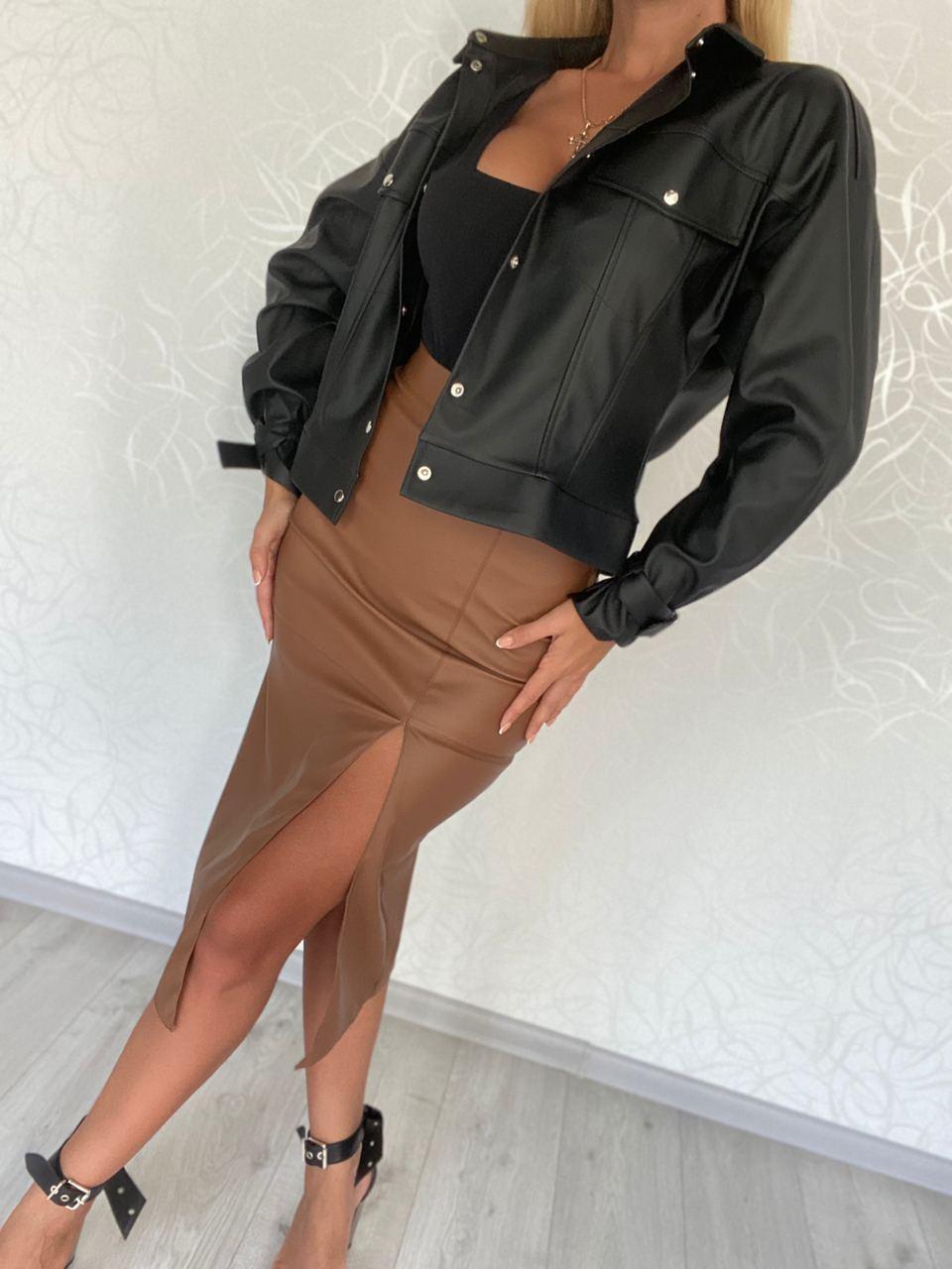 стильная женская косуха куртка кожаная