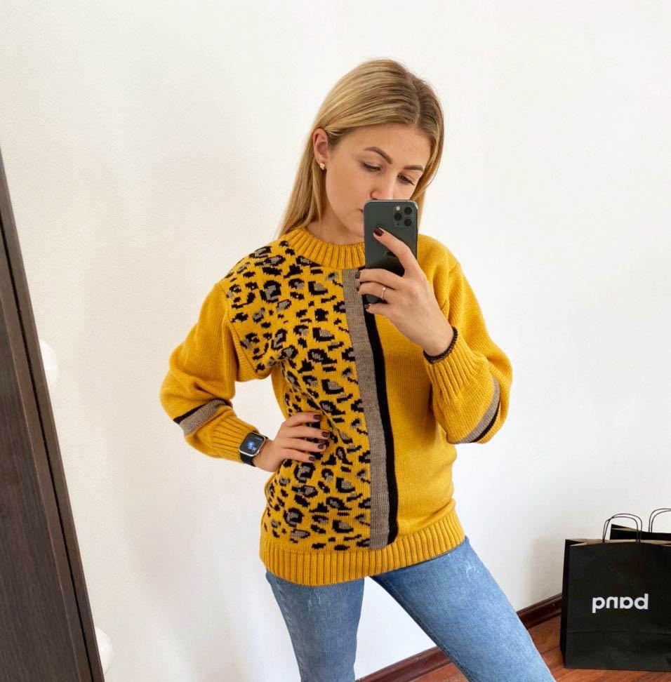 полушерстяной свитер, леопардовый свитер