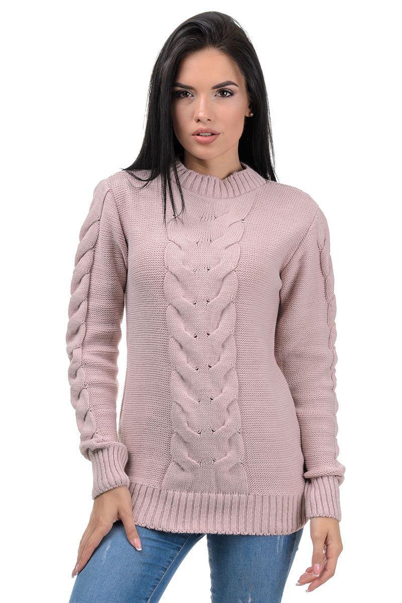 полушерстяной свитер, свитер с косичкой