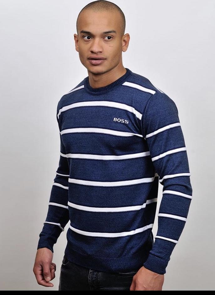 стильный мужской полосатый свитер