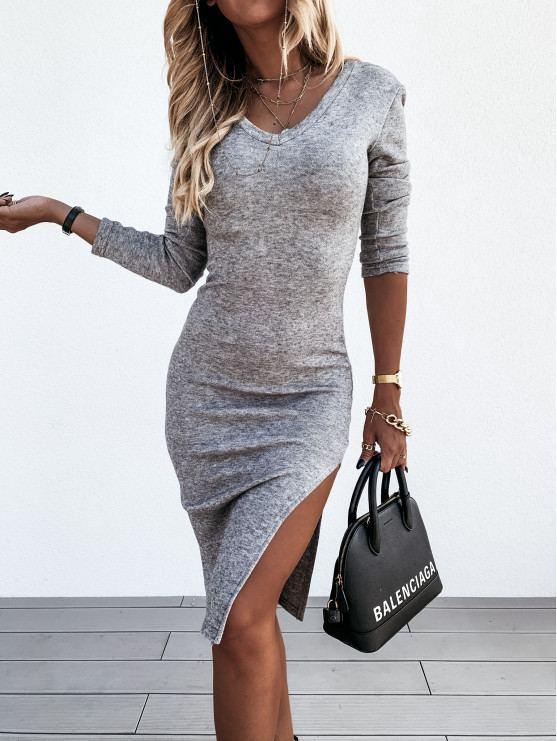 """Женское ангоровое платье с длинным рукавом и разрезом """"Дольче"""""""