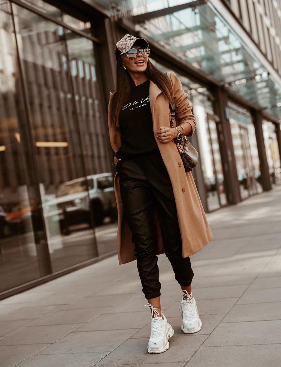 Ультрамодные женские кожаные брюки на манжете