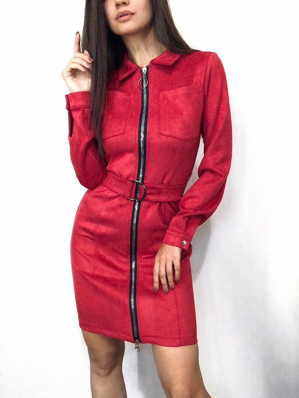 женское замшевое платье