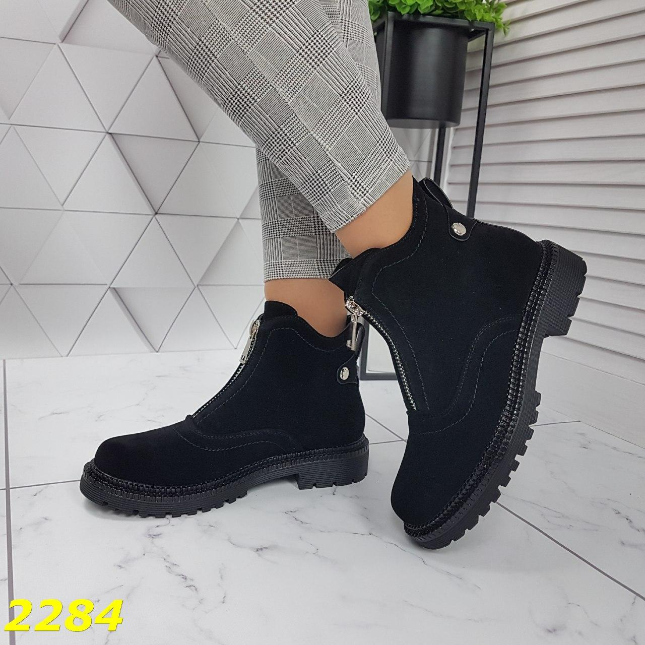 ботинки на каблуке, ботинки из экозамши