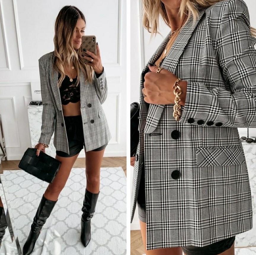 """Импазантный деловой женский пиджак в клетку """"Oficial"""""""