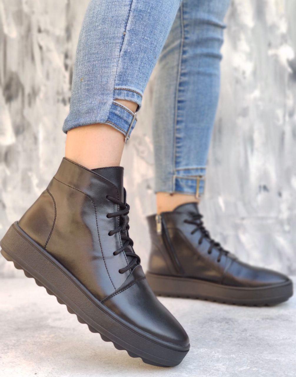 ботики на платформе, ботинки с молнией и шнуровкой