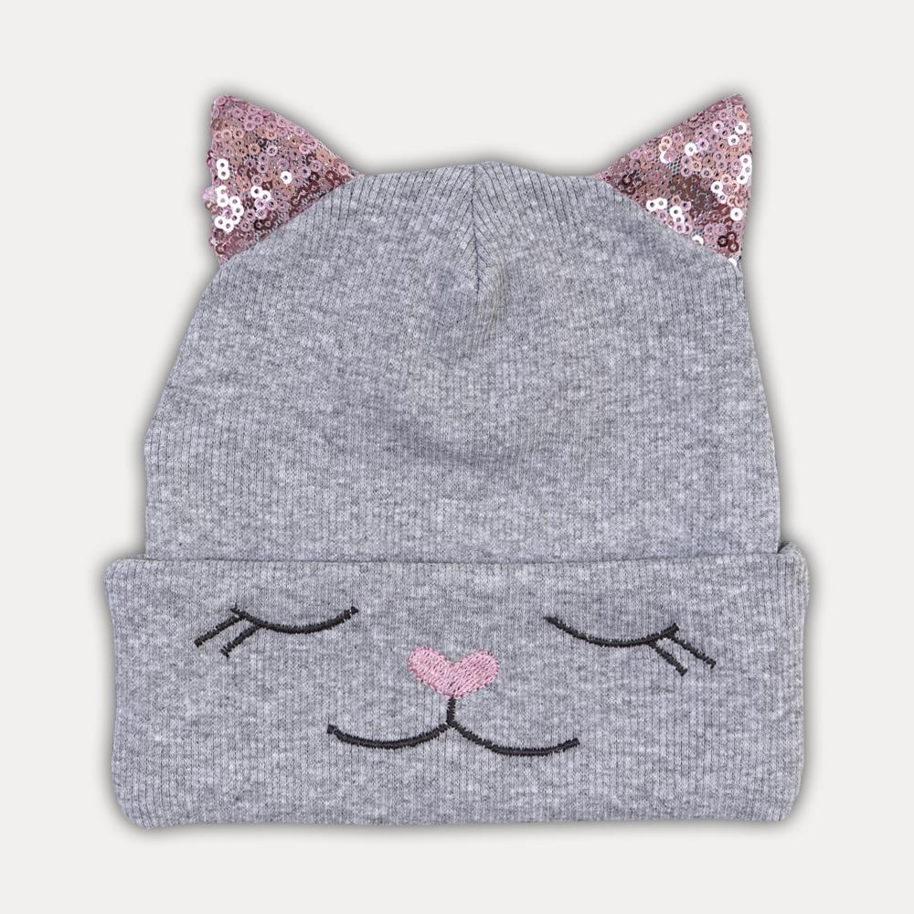шапка для девочки, шапка с ушками