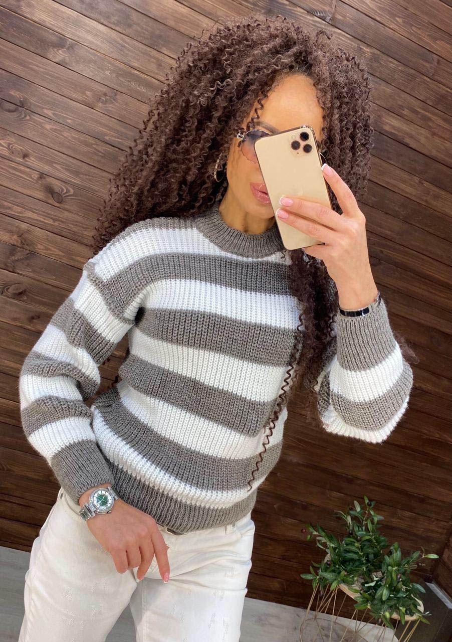 вязаный свитер, полосатый свитер