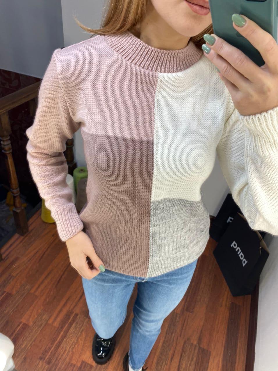 женский свитер, трехцветный свитер