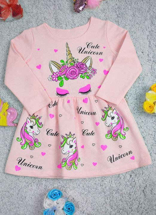 Стильное удобное теплое детское платье с единорожк ...