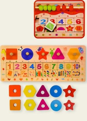 Развивающая деревянная  игра -  счетные палочки