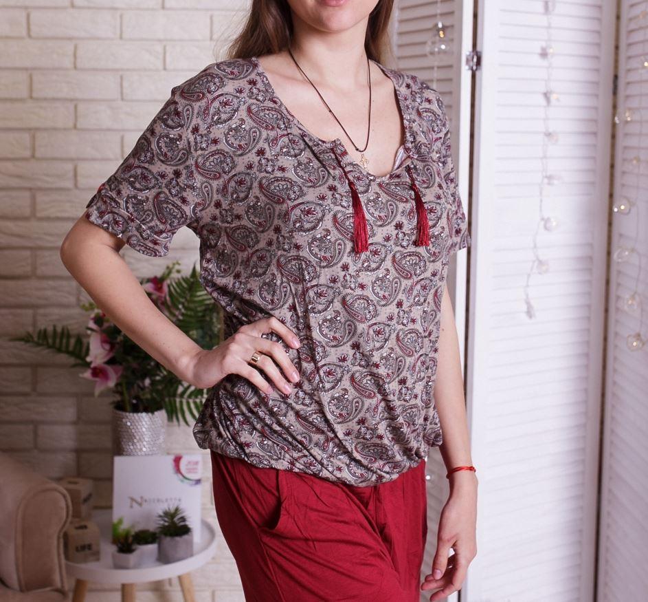 Женский легкий комплект для дома футболка и шорты  ...