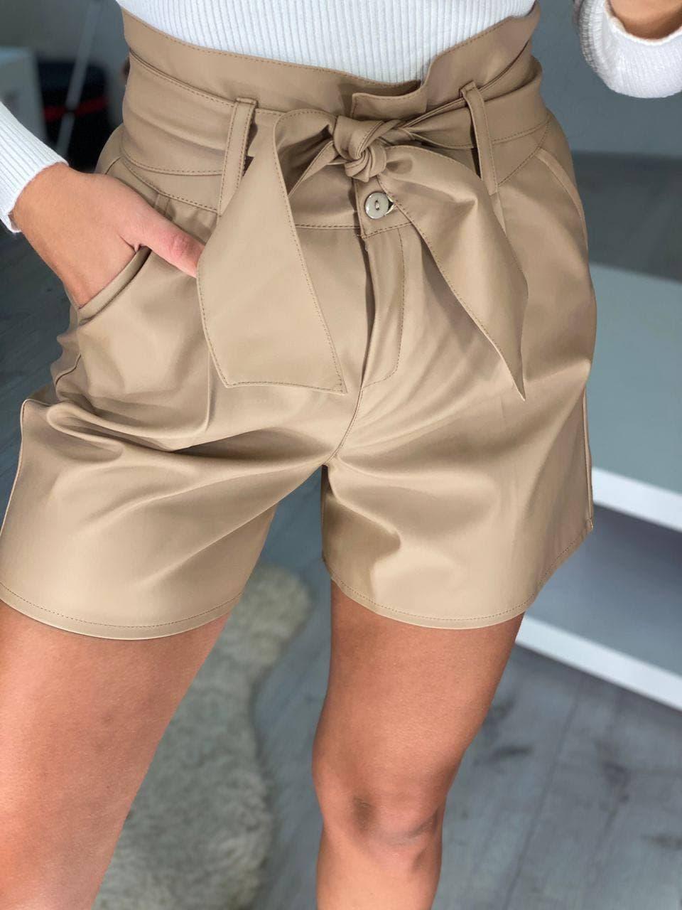 Классные женские кожаные шорты с высокой посадкой  ...