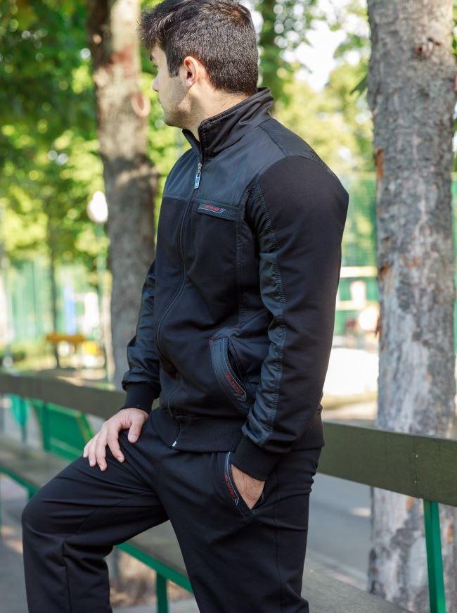 Стильный мужской спортивный костюм черный трикотаж ...