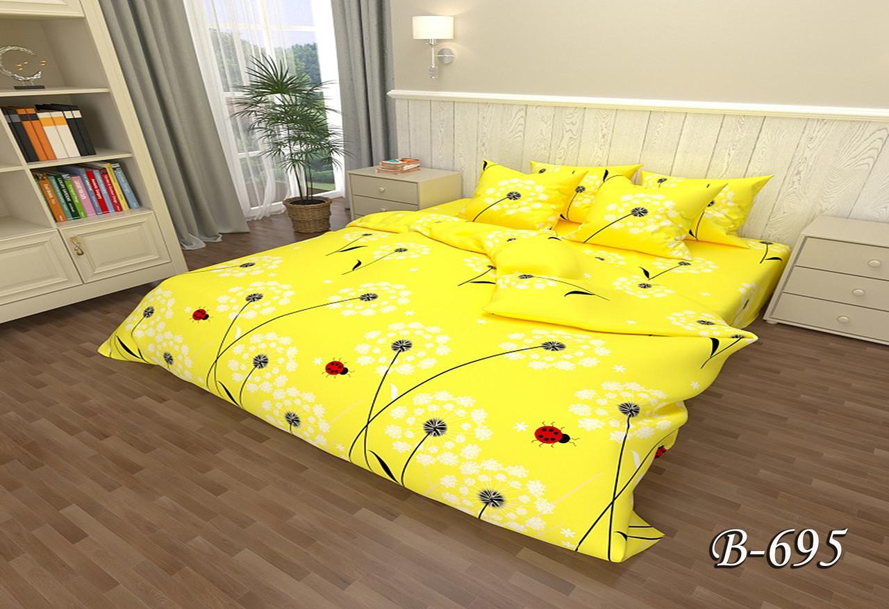 Желтое хлопковое постельное белье двойное