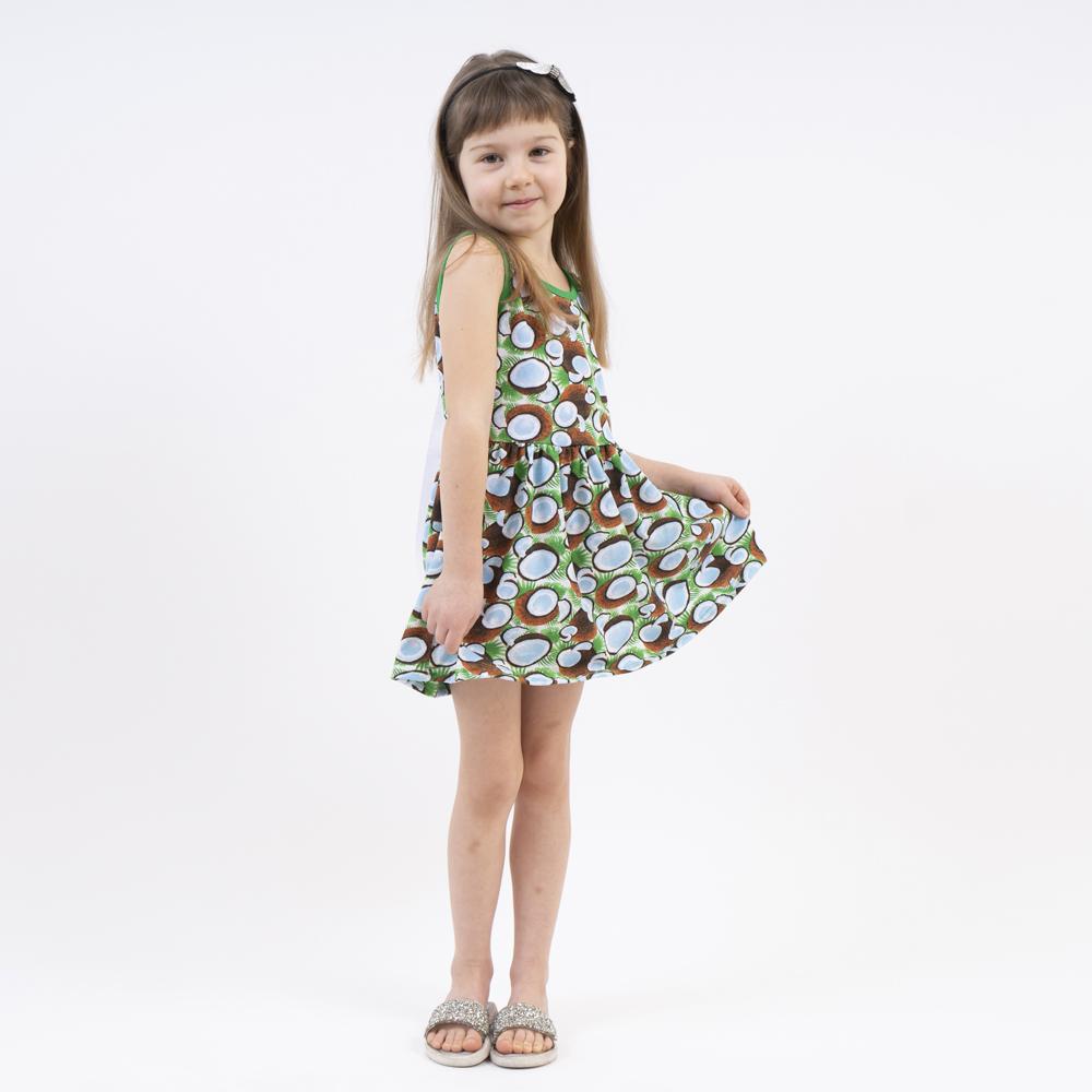 Оригинальное летнее платье для девочки с тропическ ...
