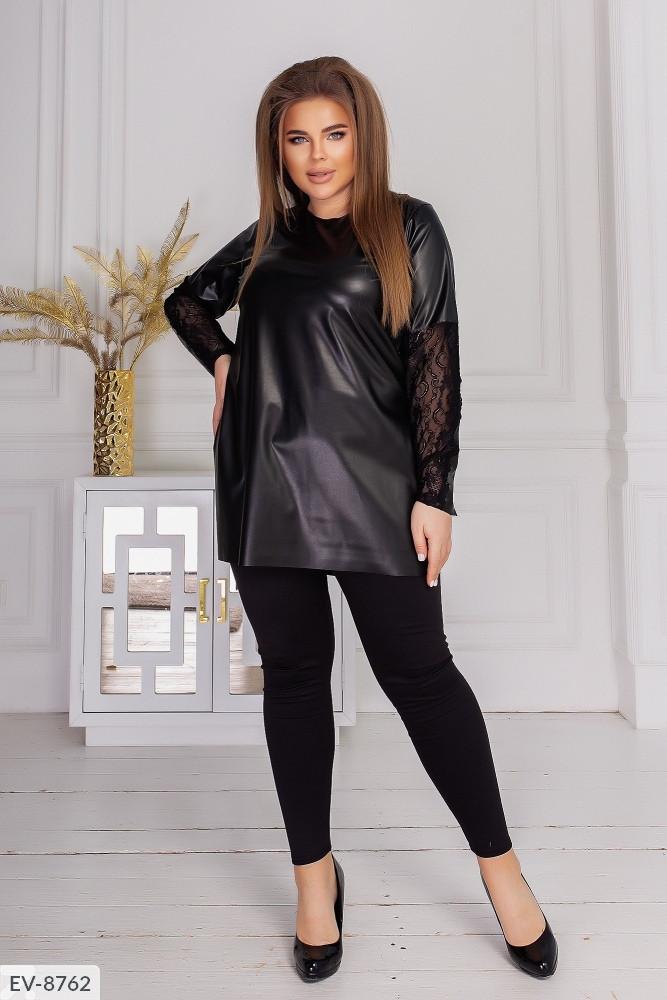 Стильная красивая модная батальная туника экокожа+ ...
