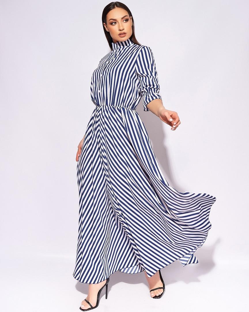 Летнее натуральное модное длинное платье батальное ...