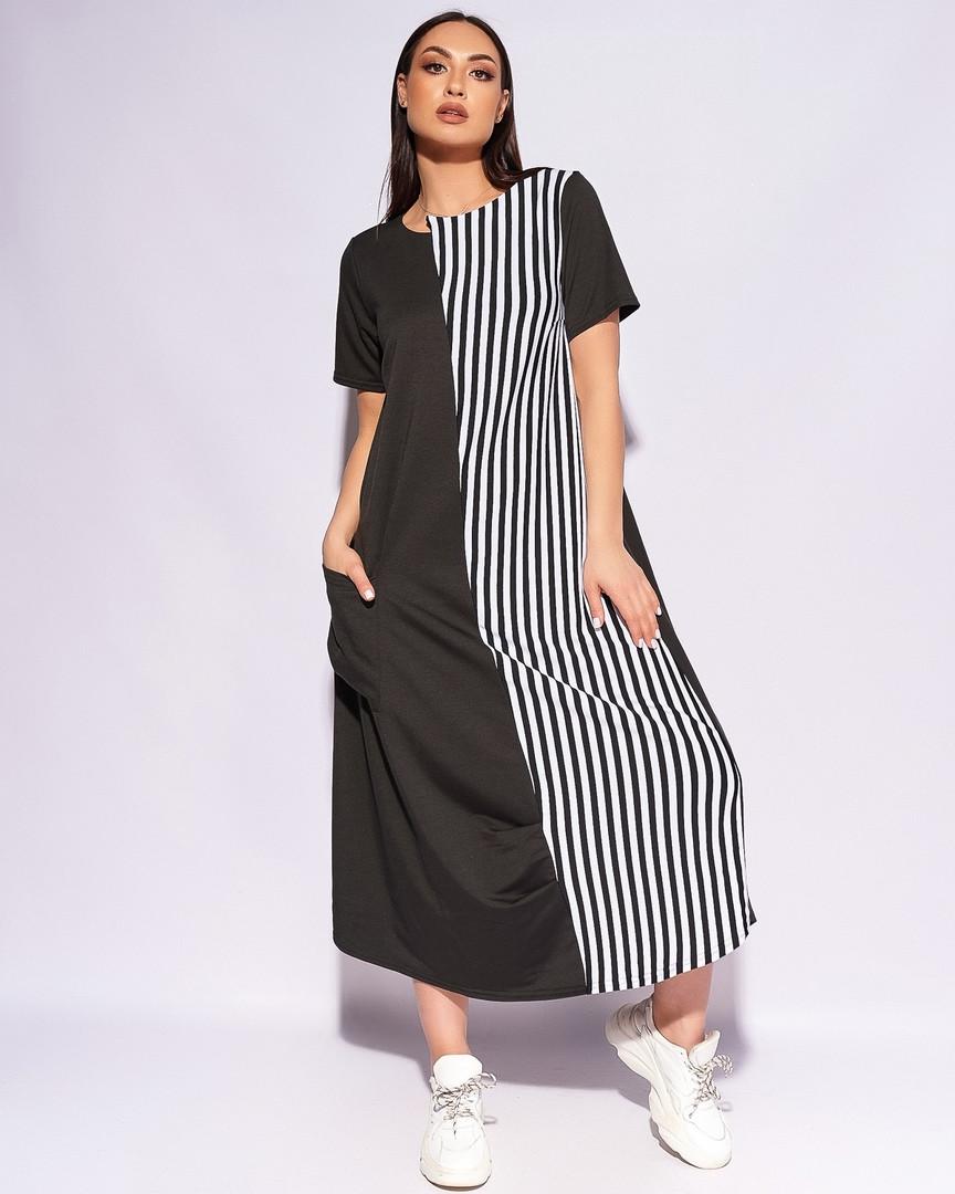 Натуральное красивое повседневное женское платье б ...