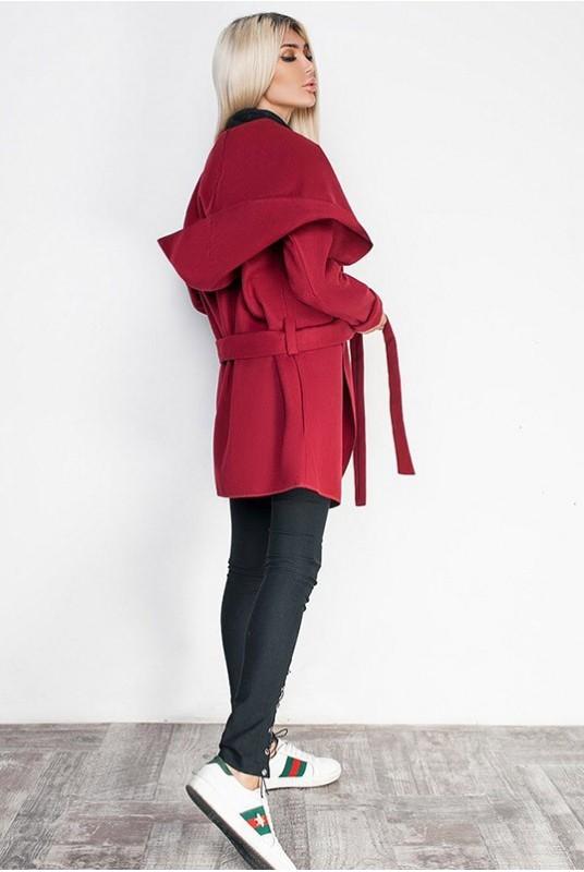 Батальное женское кашемировое пальто с капюшоном б ...
