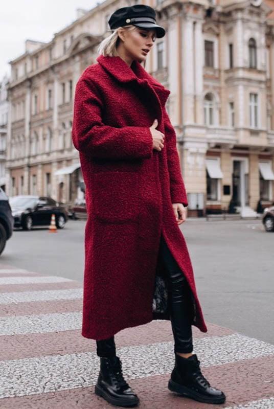 Стильное модное женское пальто на запах букле
