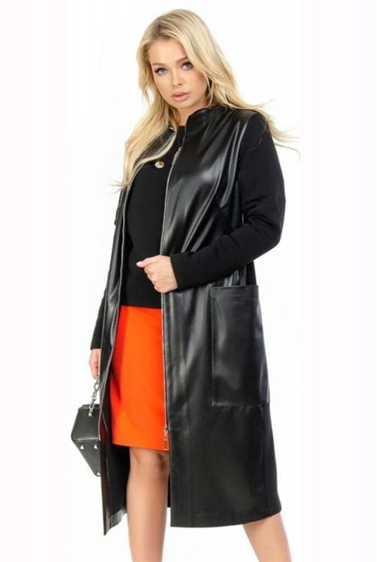 Стильное батальное черное пальто на молнии кашемир ...