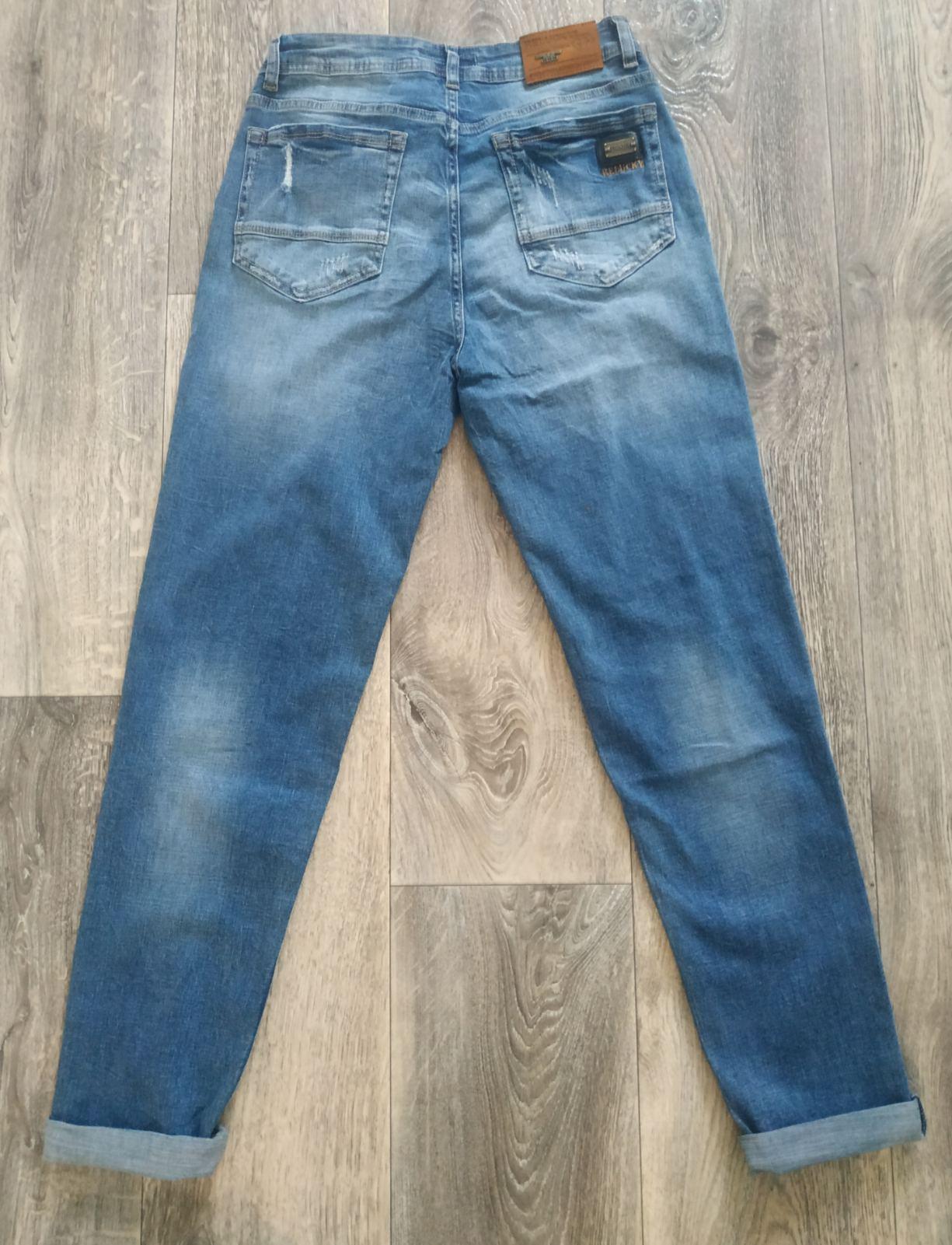 Модные голубые женские джинсы с высокой посадкой с ...