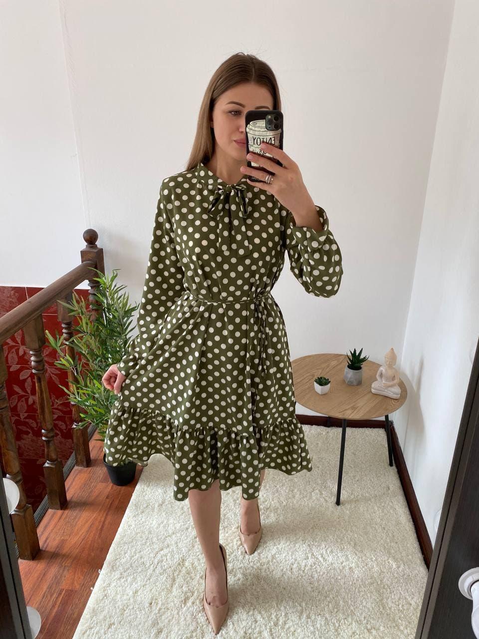 Женское платье летнее софт в горошек свободное с п ...
