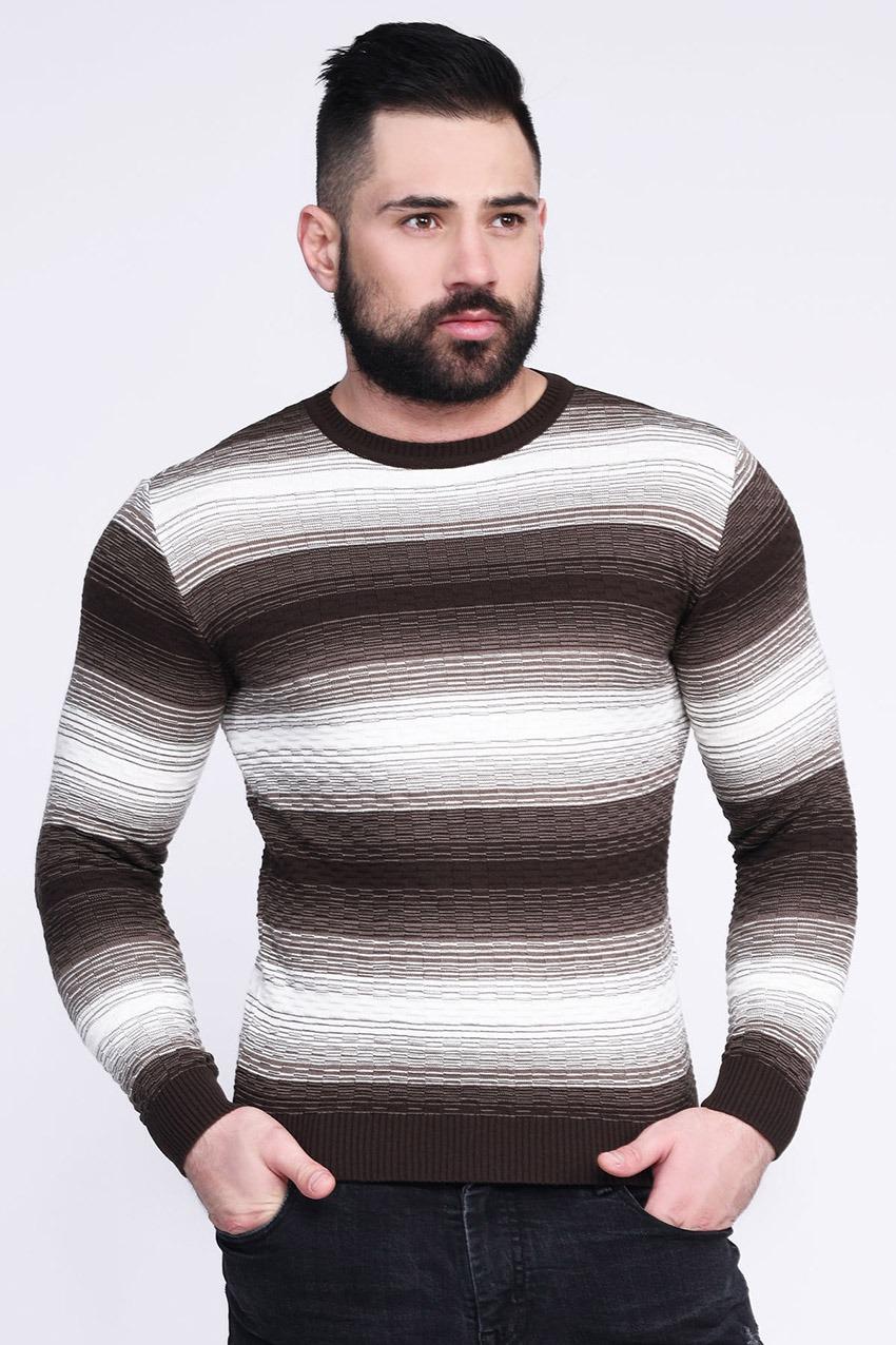 Стильный модный тонкий мужской свитер больших разм ...
