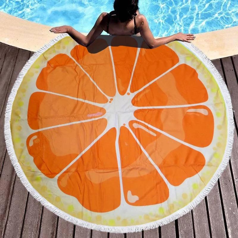 Яркое летнее круглое пляжное полотенце подстилка с ...