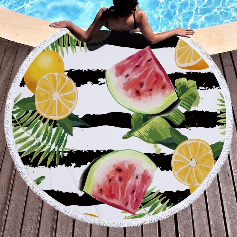 Круглое покрывало на пляж на море пляжный коврик