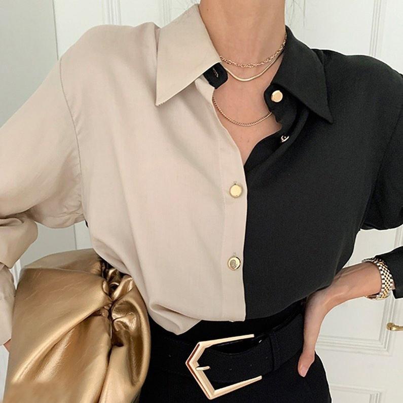 Оригинальная молодежная женская двухцветная блуза ...