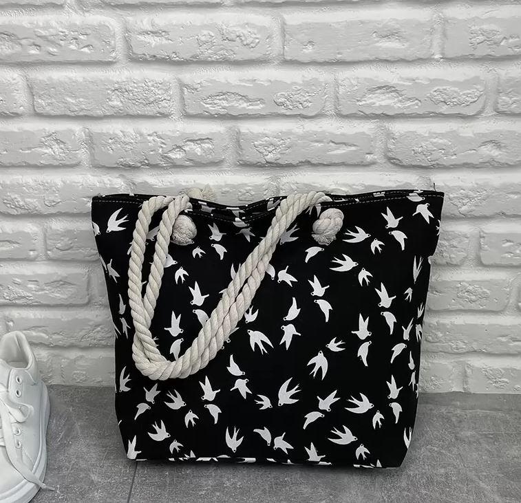 Контрастная вместительная женская пляжная сумка с  ...