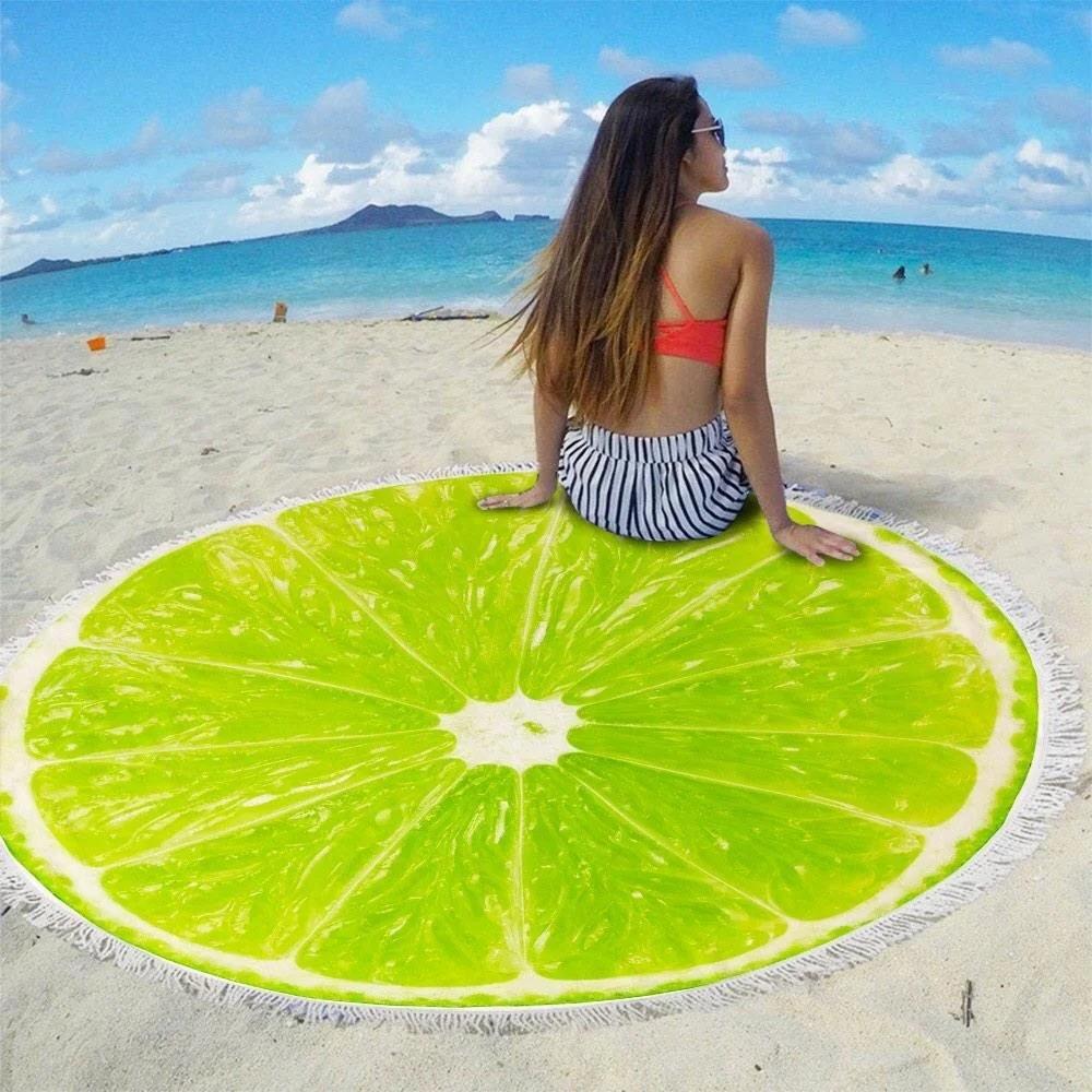 Яркий стильный летний круглый пляжный коврик полот ...