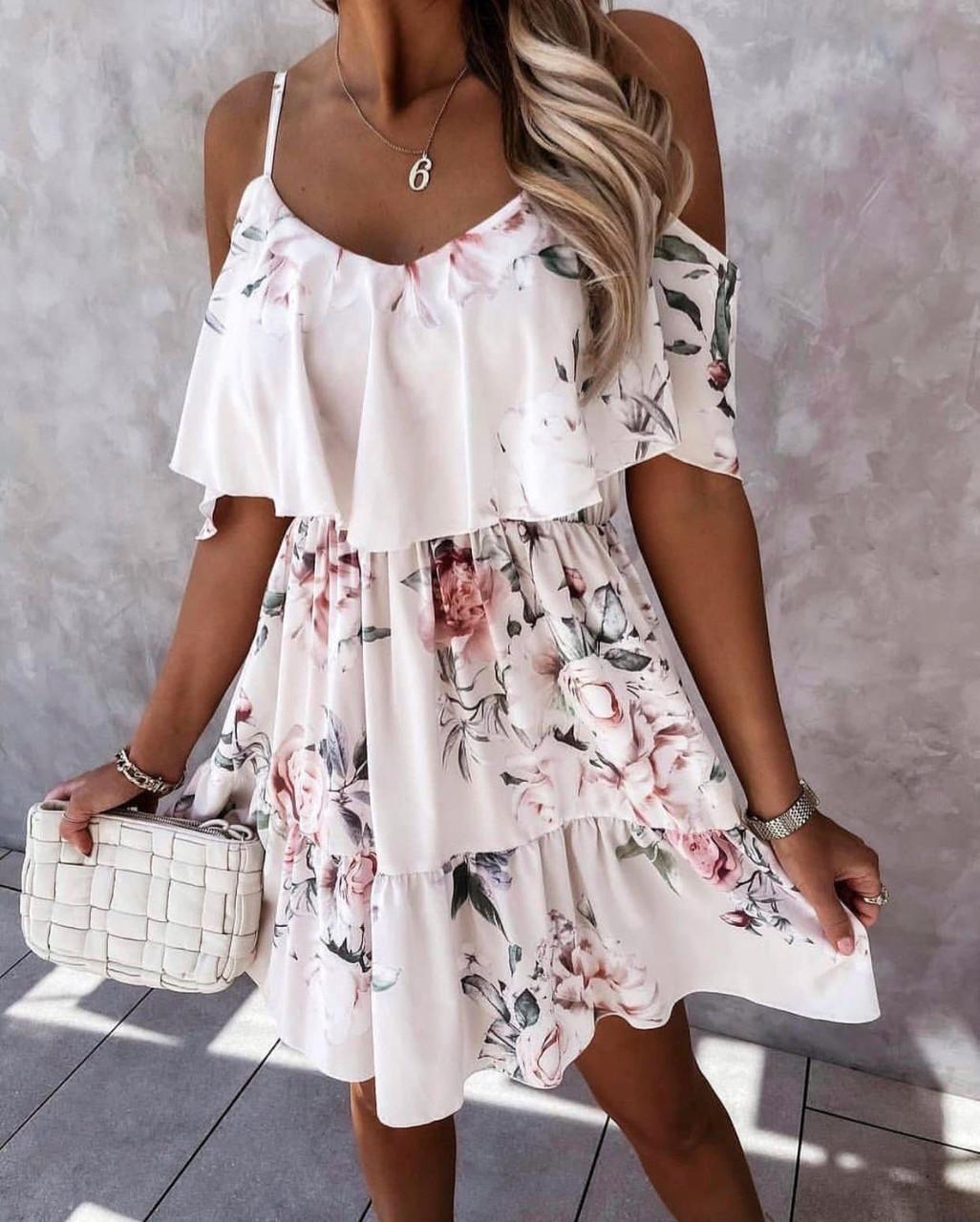 Цветочный летний легкий сарафан платье на тонких б ...