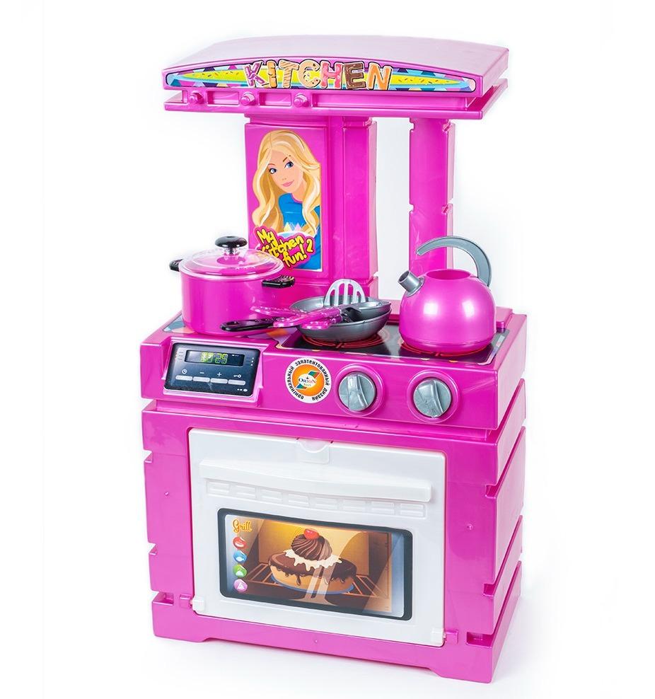 Большая детская игрушечная розовая кухня