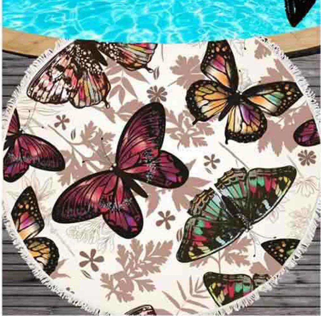 Красивое круглое покрывало пляжный коврик