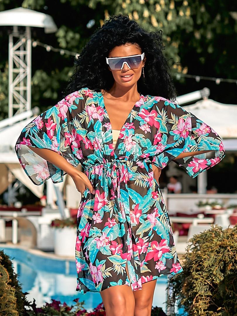 Модная женская летняя пляжная цветочная туника с п ...