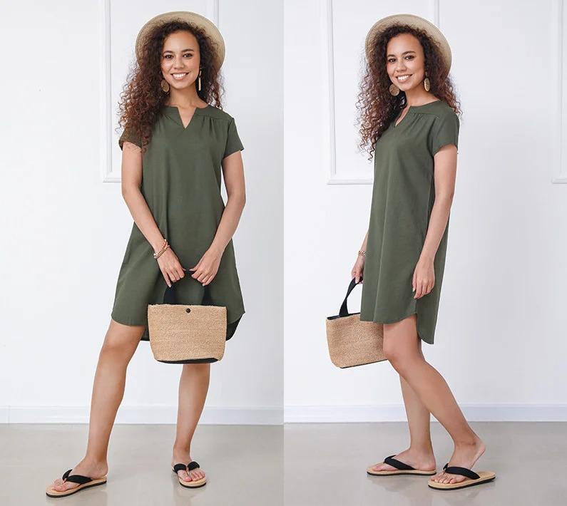 Стильное нежное женское свободное летнее платье-ту ...