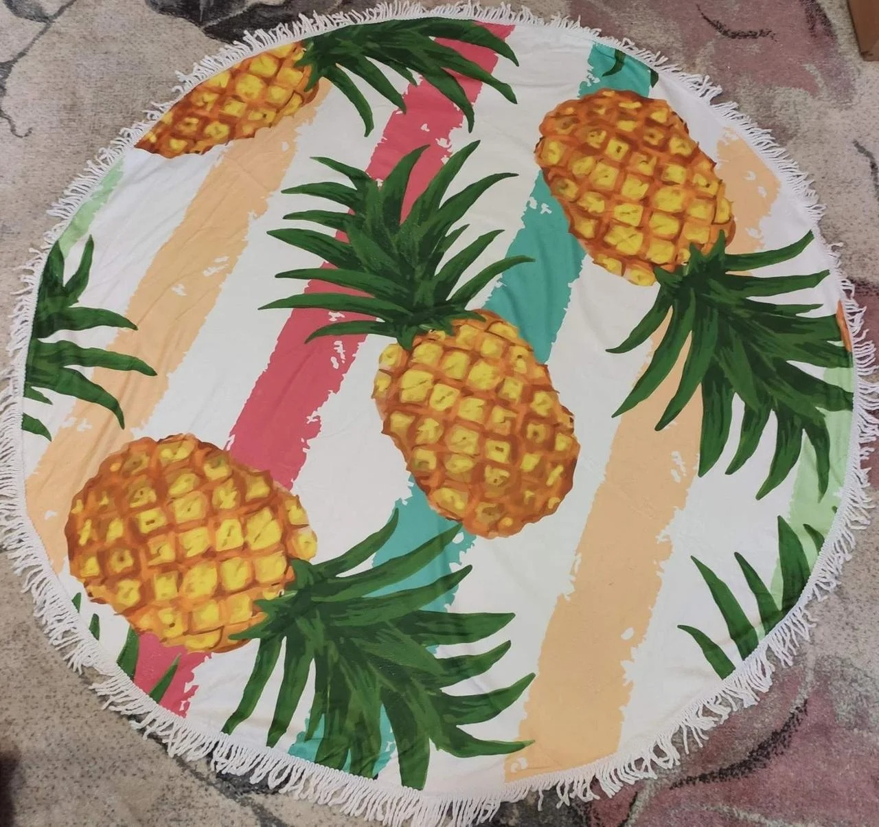 Круглое пляжное покрывало полотенце коврик 150 см  ...