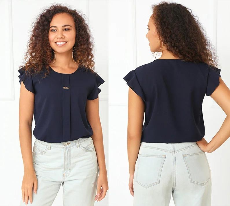Стильная женская блузка прямого фасона с коротким  ...