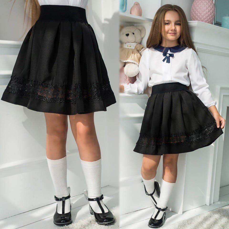 Шикарная модная школьная юбка на девочку с кружево ...