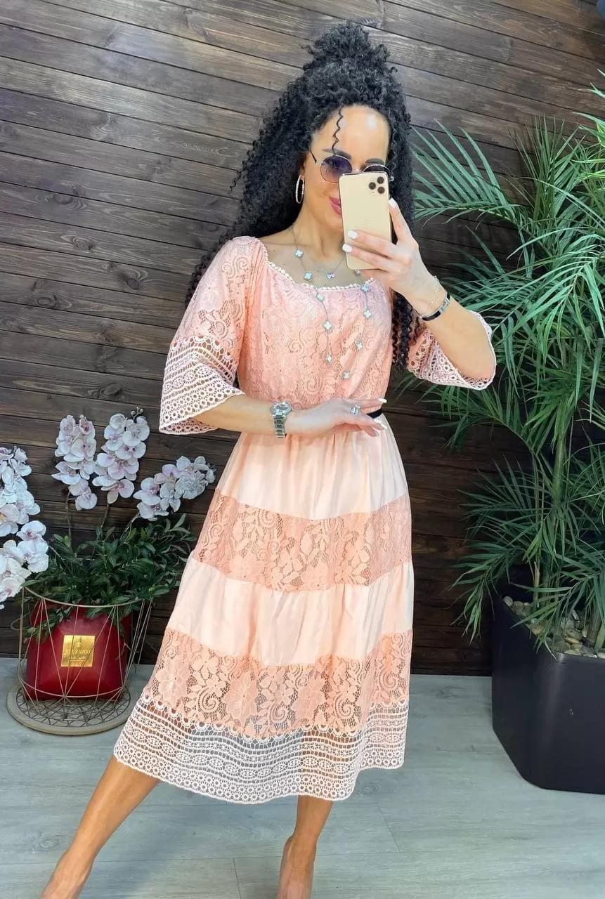 Нежное кружевное женское летнее платье с гипюром и ...