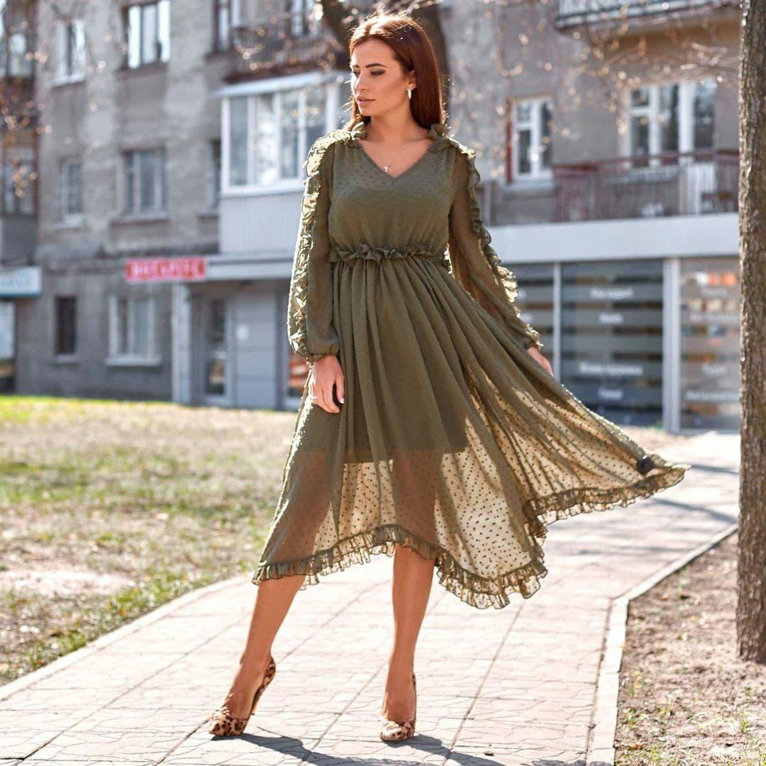 Стильное длинное летнее женское платье из шифона н ...