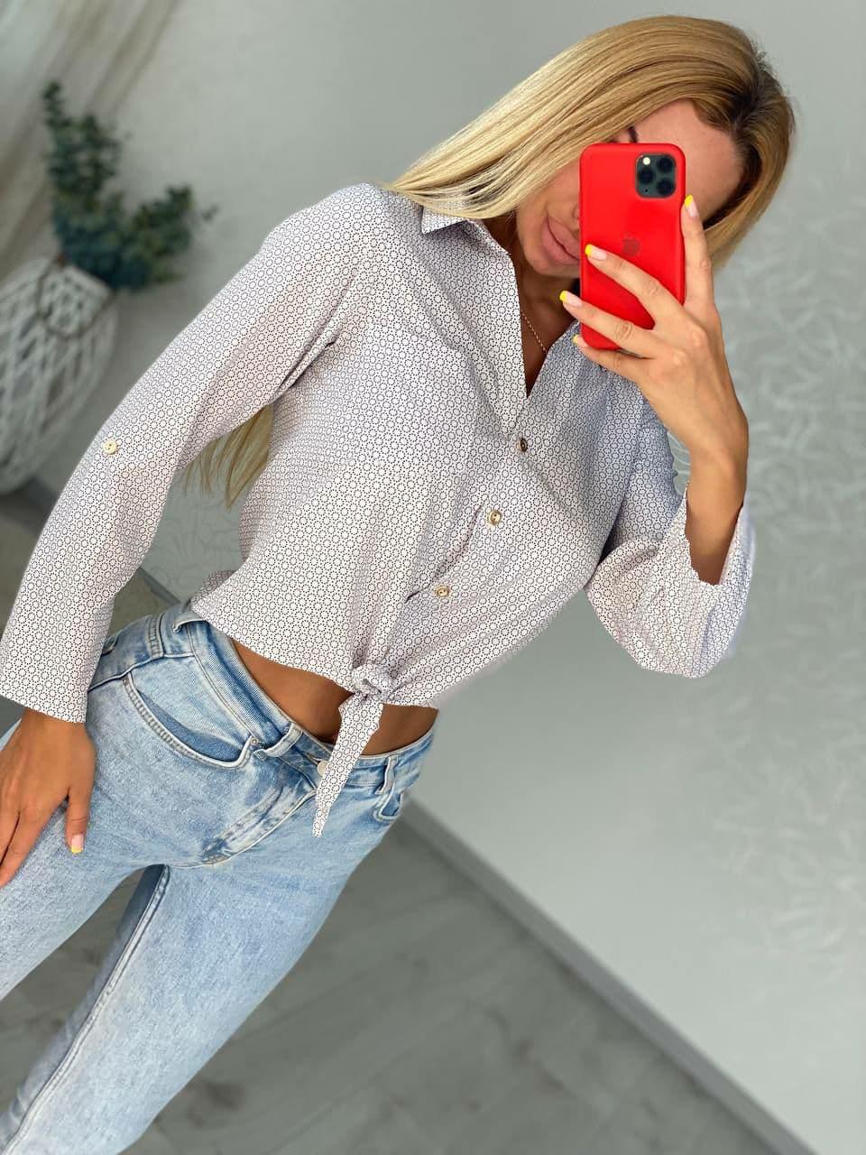 Красивая женская легкая рубашка в горошек с длинны ...