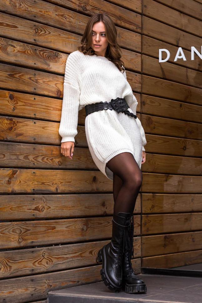 Стильное теплое вязаное платье-туника