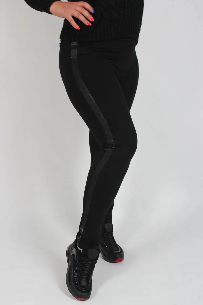 Стильные женские лосины больших размеров с кожаным ...